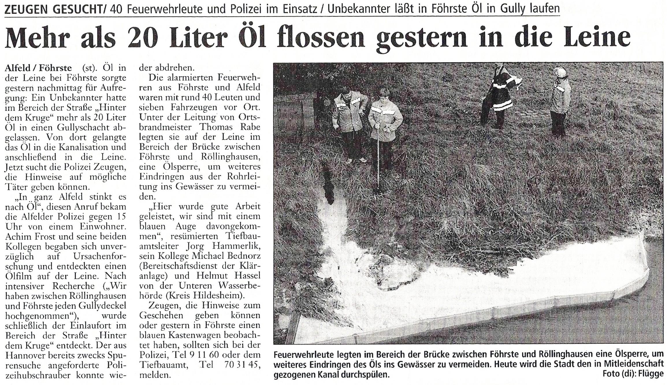 1998-10-12 Mehr als 20L Öl flossen in die Leine