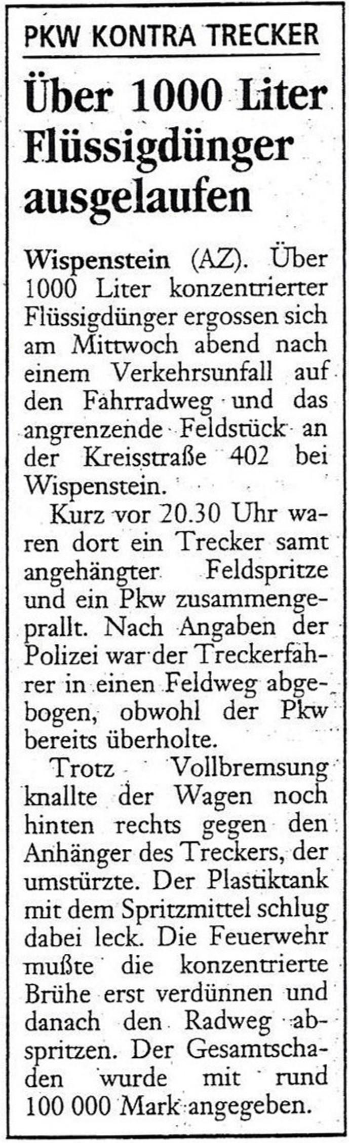 1999-06-11 Über 1000L Flüssigdünger ausgelaufen