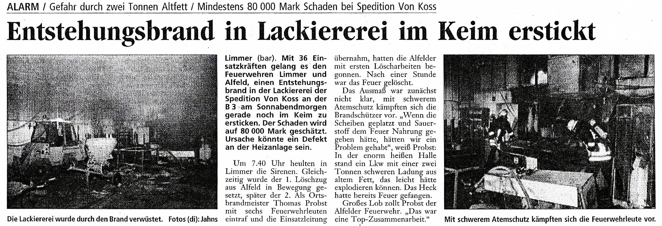 2001-01-29 Entstehungsbrand in Lackiererei
