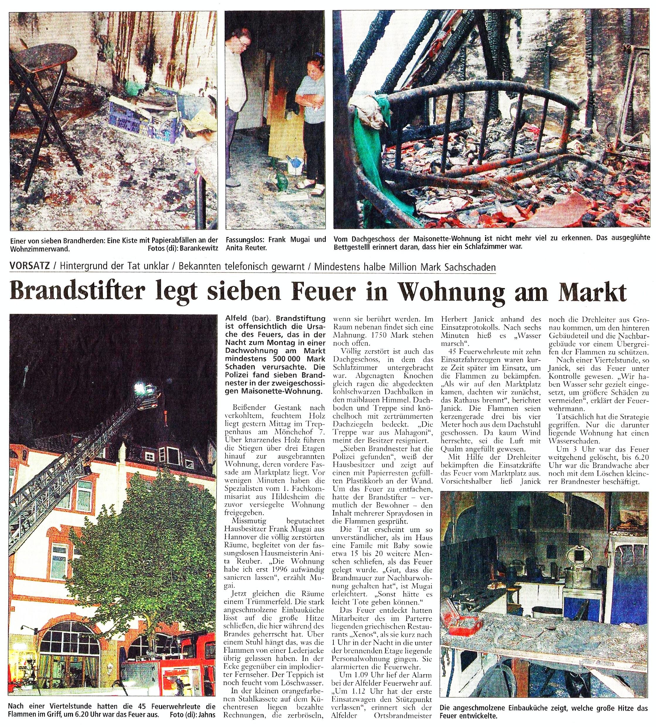 2001-05-15 Brandstifter legt 7 Feuer in Wohnung am Markt