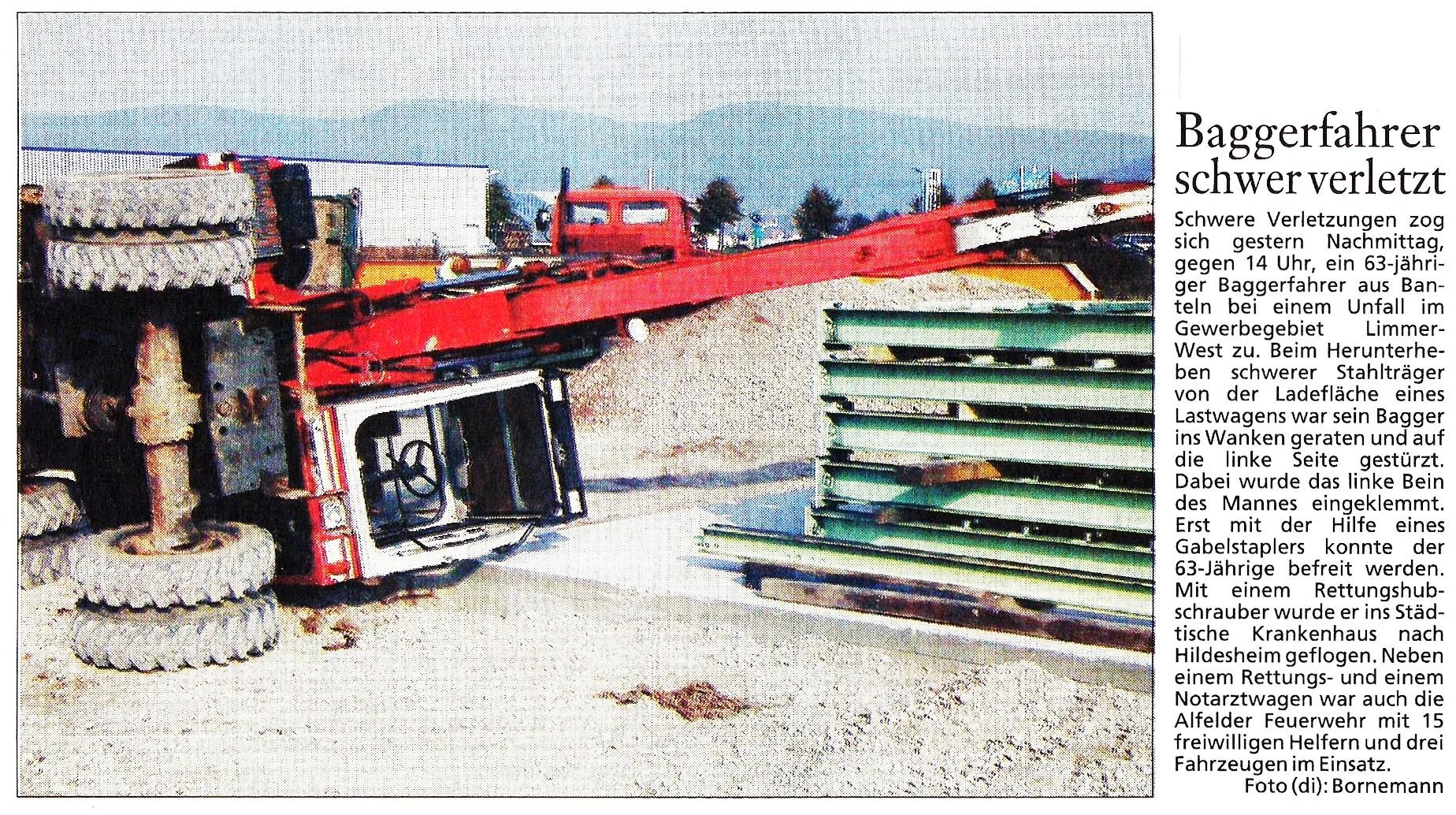 2001-10-19 Baggerfahrer schwer verletzt