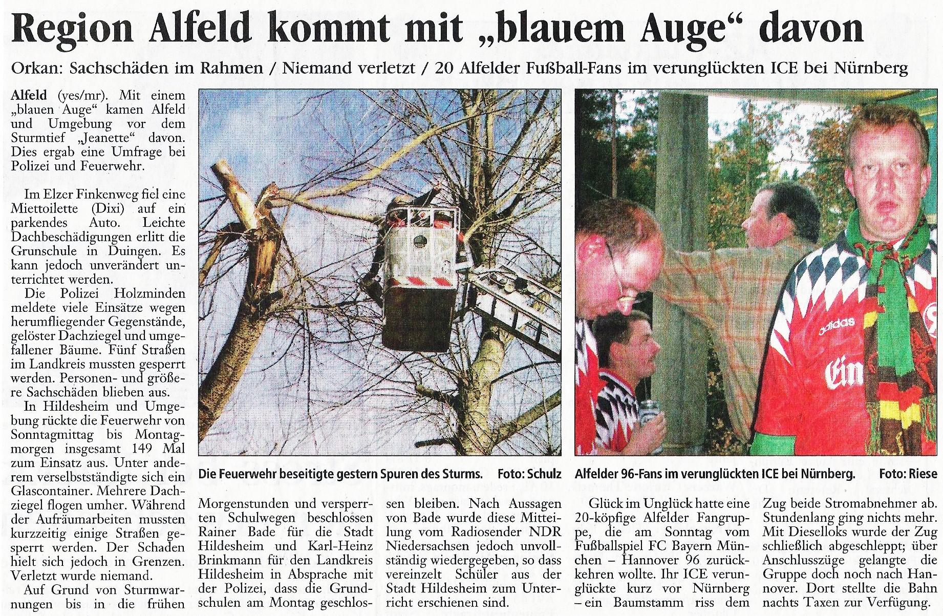 2002-10-29 Region Alfeld kommt mit blauem Auge davon