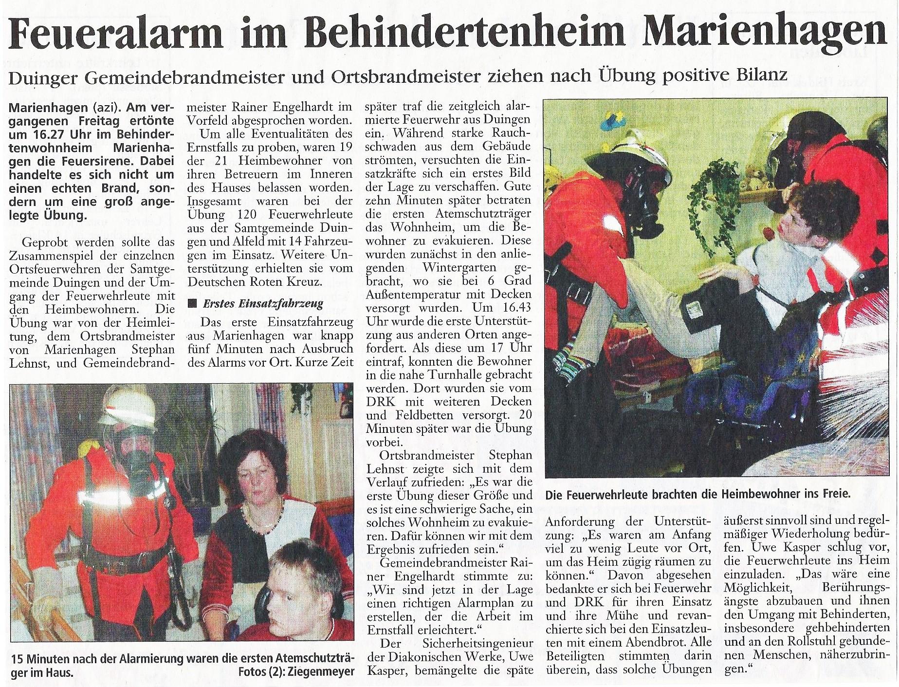 2002-11-11 Feueralarm im Behindertenheim Marienhagen