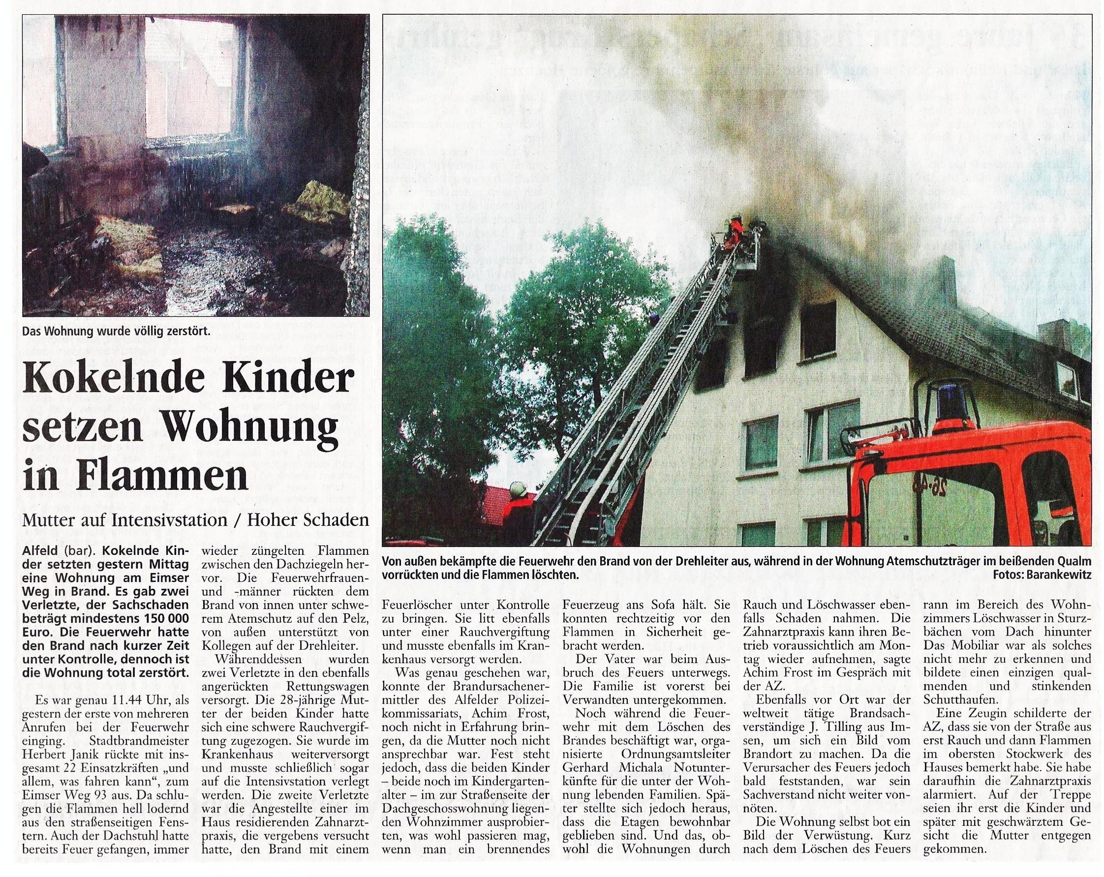 2003-06-21 Kokelnde Kinder setzen Wohnung in Flammen