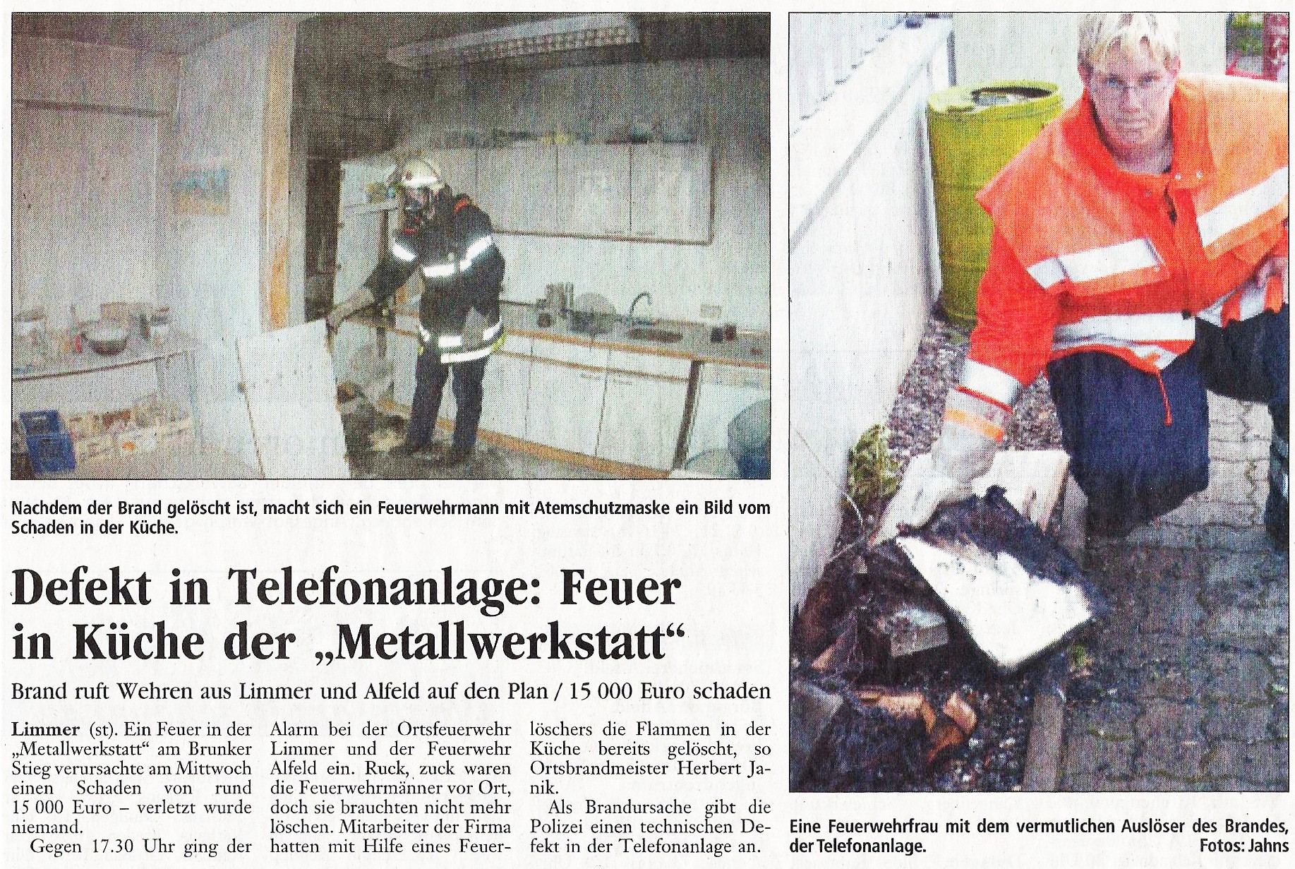 2003-06-27 Defekt in Telefonanlage