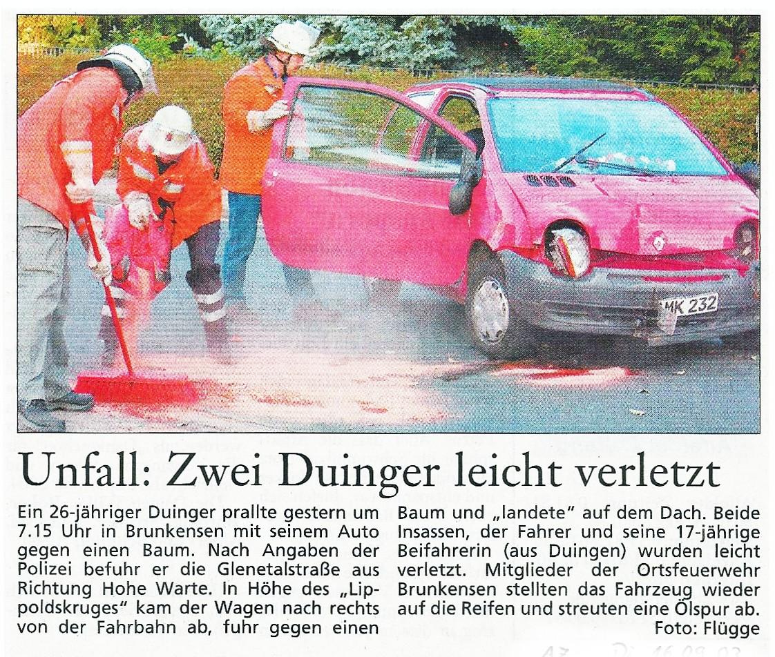 2003-09-16 Unfall- Zwei Duinger leicht Verletzt