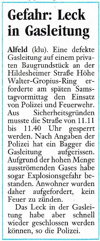 2003-12-08 Gefahr- Leck in Gasleitung