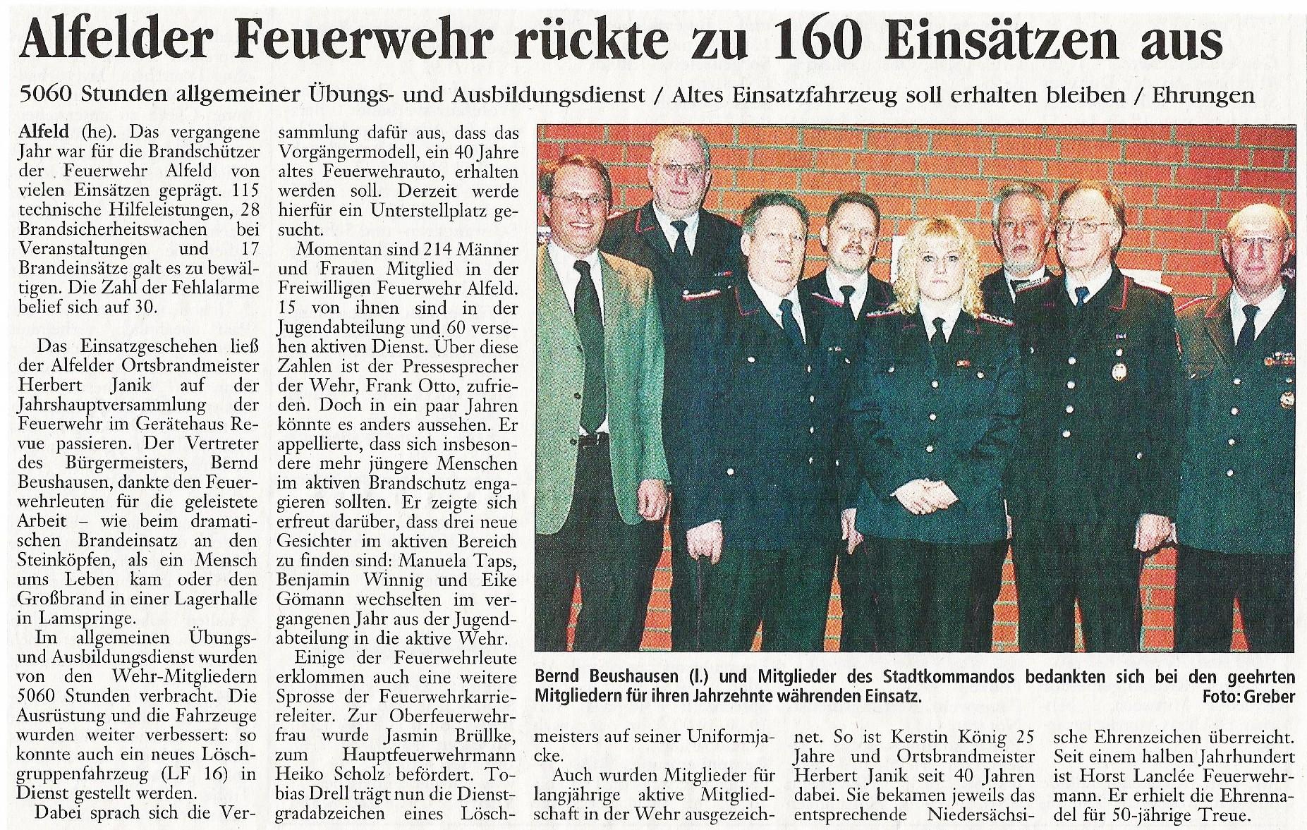 2005-01-31 Alfelder Feuerwehr rückte zu 160 Einsätzen aus