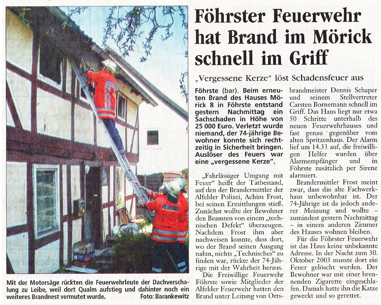 2005-04-23 Föhrster Feuerwehr hat Brand im Mörick schnell im Griff