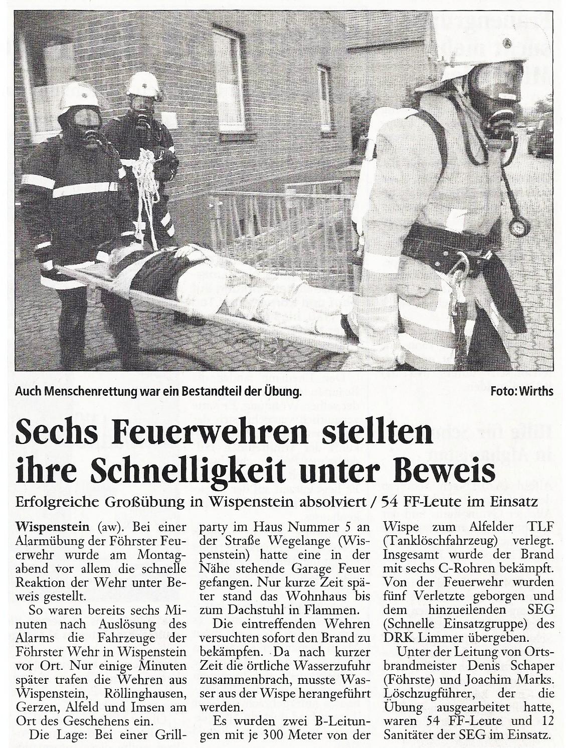 2005-06-01 Sechs Feuerwehren stellen ihre Schnelligkeit unter Beweis