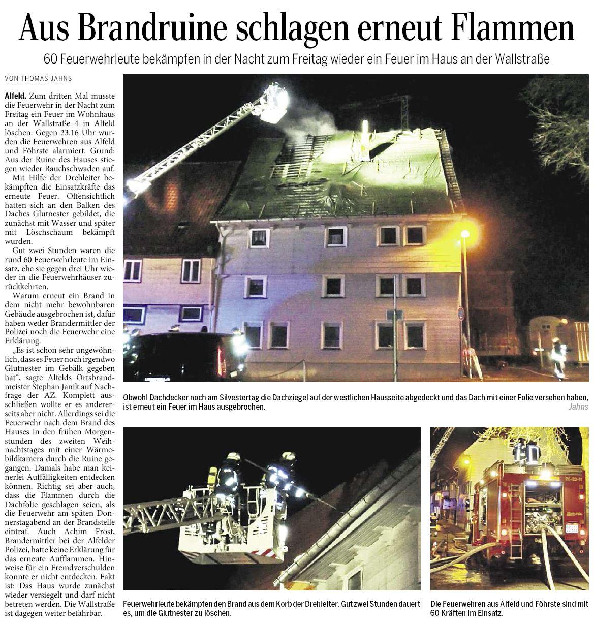 AZ vom 03.01.2015-FFWA-Brandeinsatz Wallstraße